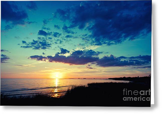 Sunset Seascape Greeting Cards - Mississippi Sound Sunset Greeting Card by Joan McCool