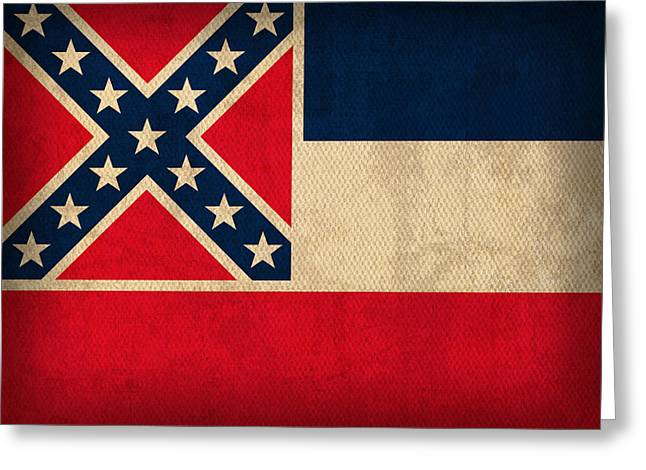 Mississippi Greeting Cards - Mississippi State Flag Art on Worn Canvas Greeting Card by Design Turnpike
