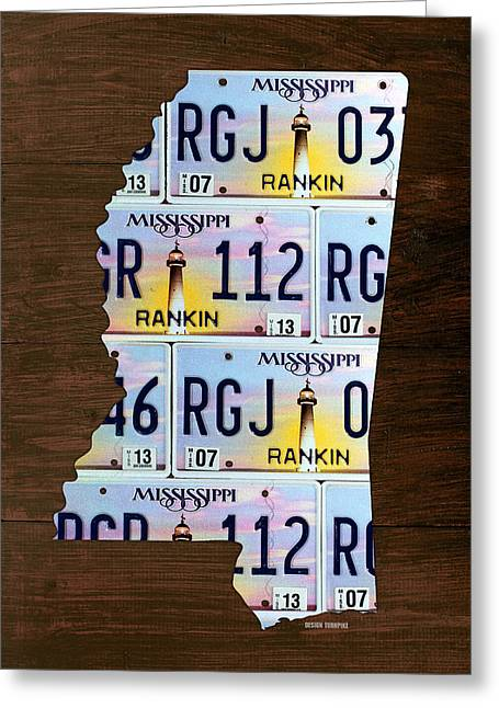 Mississippi Map Greeting Cards - Mississippi State License Plate Map Art Greeting Card by Design Turnpike