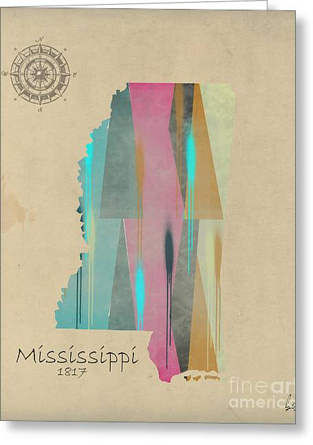 Mississippi Map Greeting Cards - Mississippi state map Greeting Card by Bri Buckley