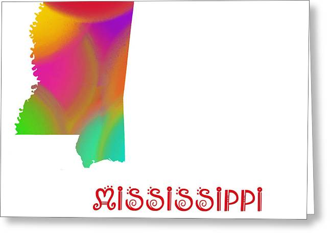 State Phrase Greeting Cards - Mississippi State Map Collection 2 Greeting Card by Andee Design