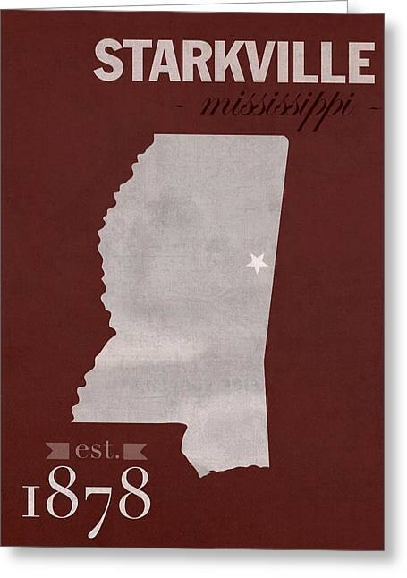 Mississippi Map Greeting Cards - Mississippi State University Bulldogs Starkville College Town State Map Poster Series No 068 Greeting Card by Design Turnpike
