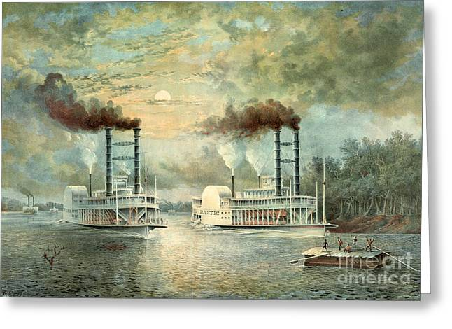 Mississippi Steamboat Race 1859 Greeting Card by Padre Art