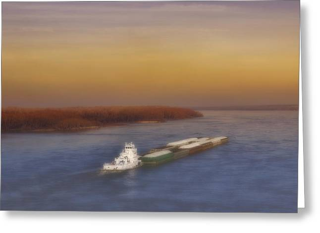 Tennessee River Greeting Cards - Mississippi Sunset Greeting Card by Ellen Heaverlo