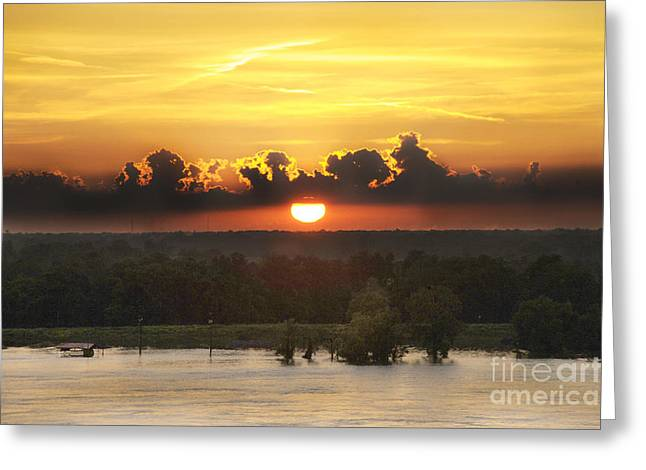 River Flooding Greeting Cards - Mississippi Sunset Greeting Card by Leon Hollins III
