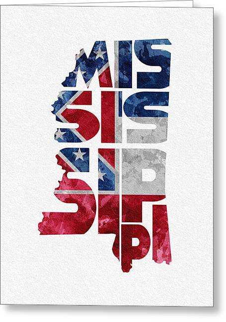 Mississippi Map Greeting Cards - Mississippi Typographic Map Flag Greeting Card by Ayse Deniz