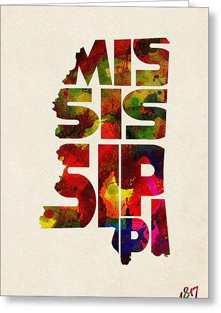 Mississippi Map Greeting Cards - Mississippi Typographic Watercolor Map Greeting Card by Ayse Deniz