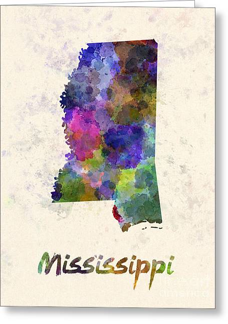 Mississippi State Map Greeting Cards - Mississippi US state in watercolor Greeting Card by Pablo Romero