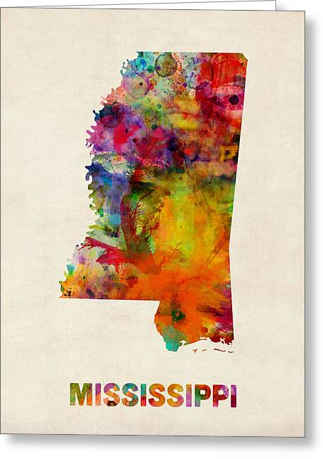 State Map Greeting Cards - Mississippi Watercolor Map Greeting Card by Michael Tompsett