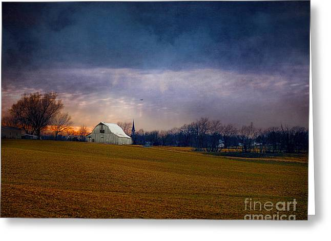 White Barns Greeting Cards - Missouri Barn at Sunset Greeting Card by Jai Johnson