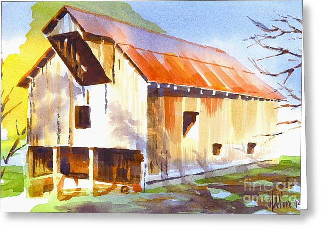Ironton Greeting Cards - Missouri Barn in Watercolor Greeting Card by Kip DeVore