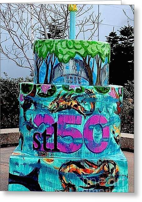Garden Show Greeting Cards - Missouri Botanical Garden Stl250 Birthday Cake Greeting Card by Genevieve Esson