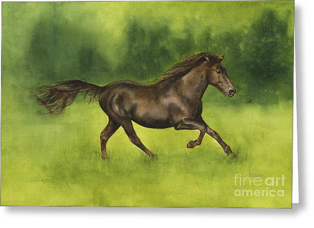 Missouri Artist Greeting Cards - Missouri Fox Trotter Horse Greeting Card by Nan Wright