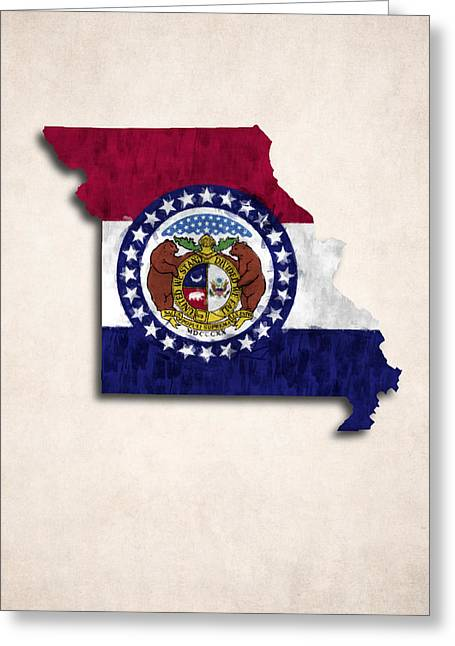 America City Map Greeting Cards - Missouri Map Art with Flag Design Greeting Card by World Art Prints And Designs