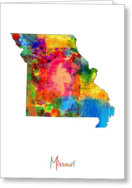 Cartography Digital Art Greeting Cards - Missouri Map Greeting Card by Michael Tompsett