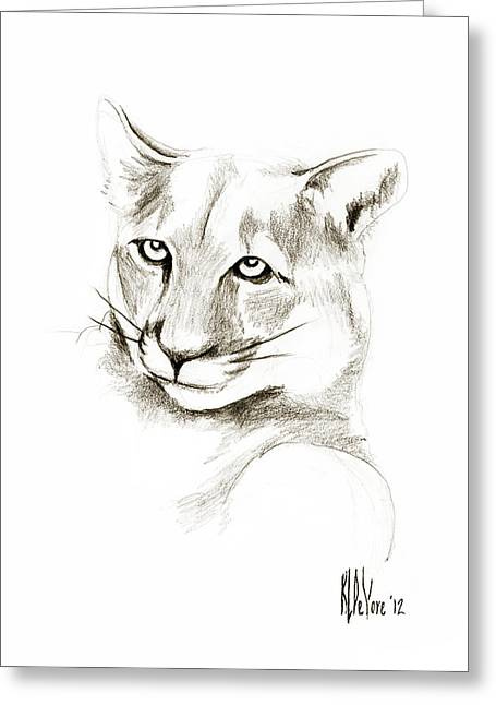 Wild Life Drawings Greeting Cards - Missouri Mountain Lion II Greeting Card by Kip DeVore