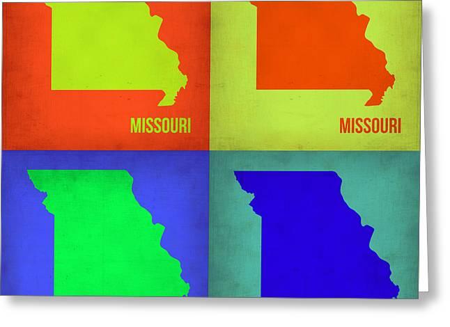 Missouri Greeting Cards - Missouri Pop Art Map 1 Greeting Card by Naxart Studio