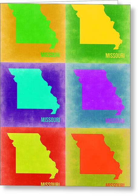 Missouri Greeting Cards - Missouri Pop Art Map 2 Greeting Card by Naxart Studio
