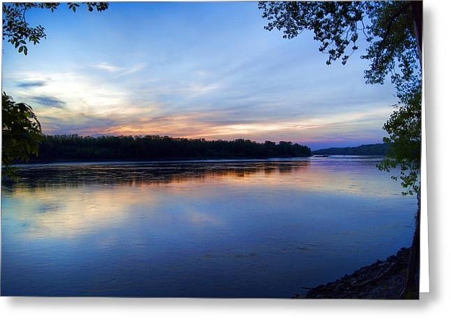 Reflecting Water Greeting Cards - Missouri River Blues Greeting Card by Cricket Hackmann