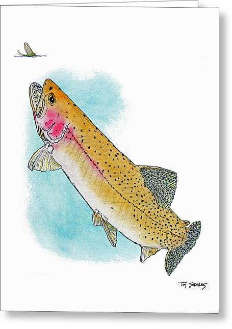 Flyfishing Pastels Greeting Cards - Missouri River Cutt Greeting Card by Tim Shoales