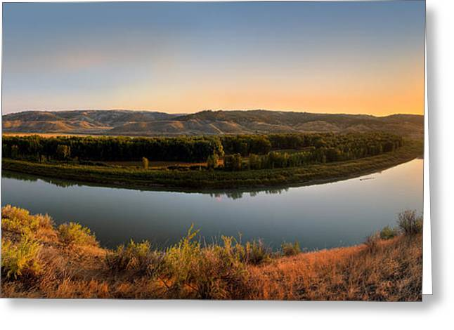 Placid Blue Greeting Cards - Missouri River Sunrise Panoramic Greeting Card by Leland D Howard