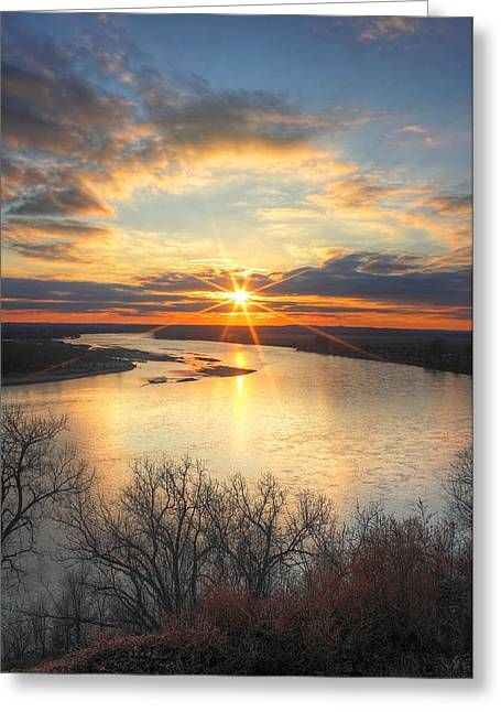 Unset Greeting Cards - Missouri River Sunset Greeting Card by Chris  Allington