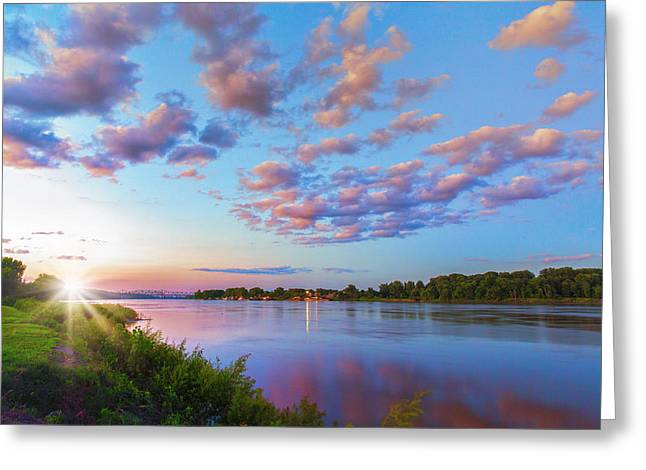 Missouri River Greeting Cards - Missouri River Sunset From Saint Charles Greeting Card by Bill Tiepelman