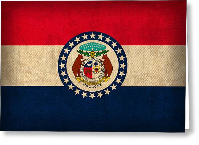 Gateway Arch Greeting Cards - Missouri State Flag Art on Worn Canvas Greeting Card by Design Turnpike