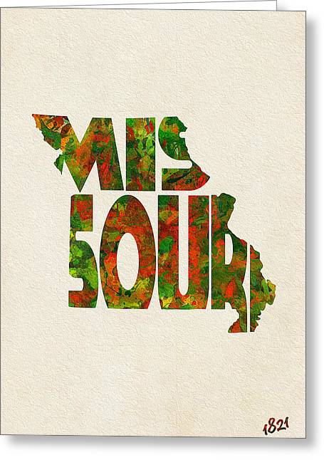 Bizarre Mixed Media Greeting Cards - Missouri Typographic Watercolor Map Greeting Card by Ayse Deniz