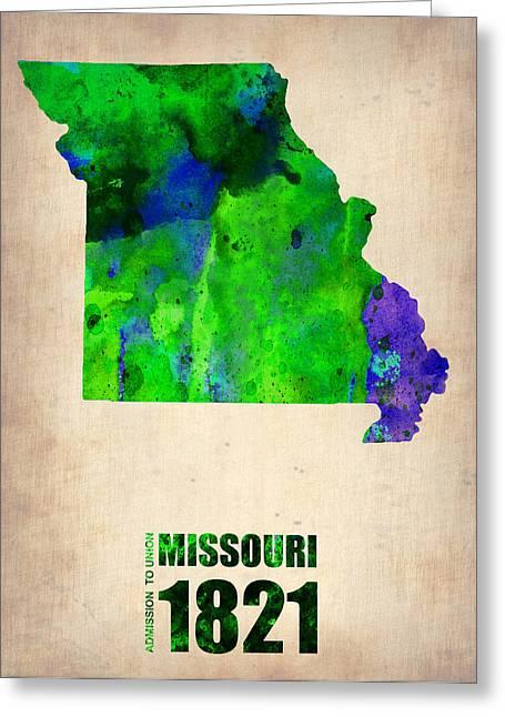 Missouri Greeting Cards - Missouri Watercolor Map Greeting Card by Naxart Studio