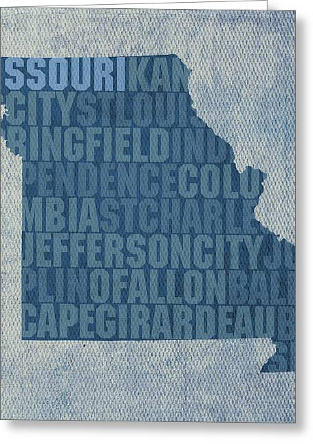 Missouri Mixed Media Greeting Cards - Missouri Word Art State Map on Canvas Greeting Card by Design Turnpike