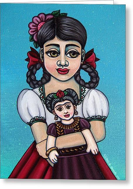 Spanish Market Greeting Cards - Missy Holding Frida Greeting Card by Victoria De Almeida