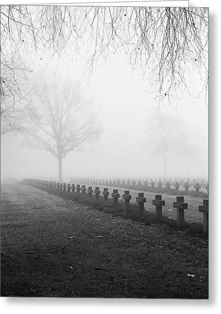 Headstones Greeting Cards - Mist At Cemetery Greeting Card by Dirk Ercken