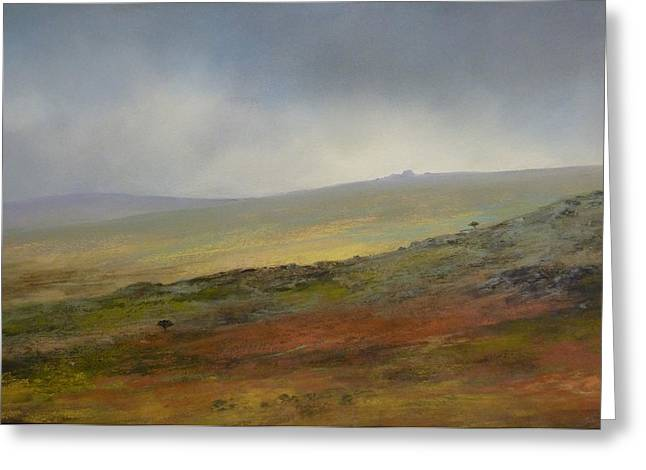 Tor Pastels Greeting Cards - Mist descending over Links Tor Greeting Card by James R C Martin