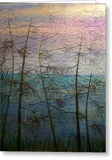 Ocean Landscape Glass Art Greeting Cards - Mist Fantasy Greeting Card by Rick Silas
