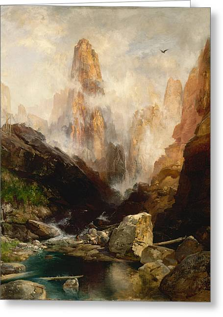 White River Scene Greeting Cards - Mist in Kanab Canyon Utah Greeting Card by Thomas Moran