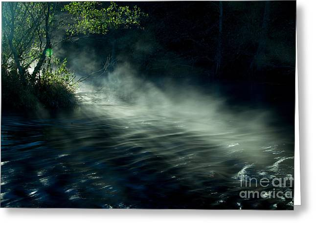 Mystical Landscape Greeting Cards - Mist in the moody river Greeting Card by Iris Greenwell