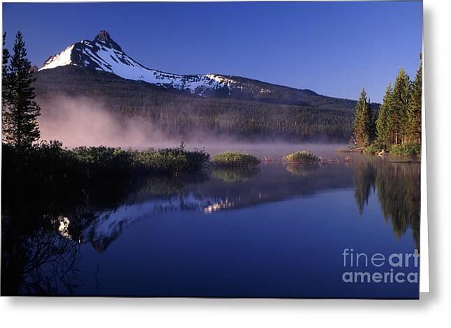 Joe Klune Greeting Cards - Mist off of Big Lake Greeting Card by Joe Klune