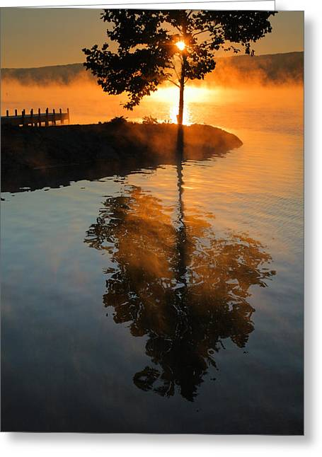 Keuka Greeting Cards - Mist On Fire Greeting Card by Steven Ainsworth