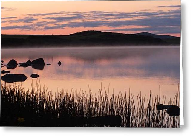 Reflections Of Sky In Water Greeting Cards - Mist Rising From The Lake Greeting Card by Anne Macdonald