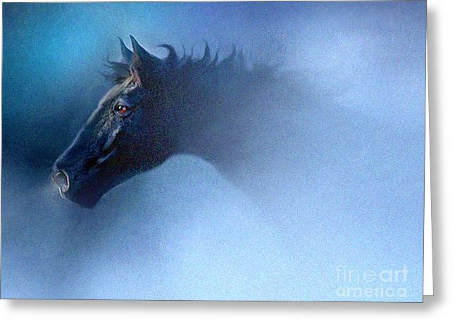 Quarter Horse Greeting Cards - Mist Runner Greeting Card by Robert Foster