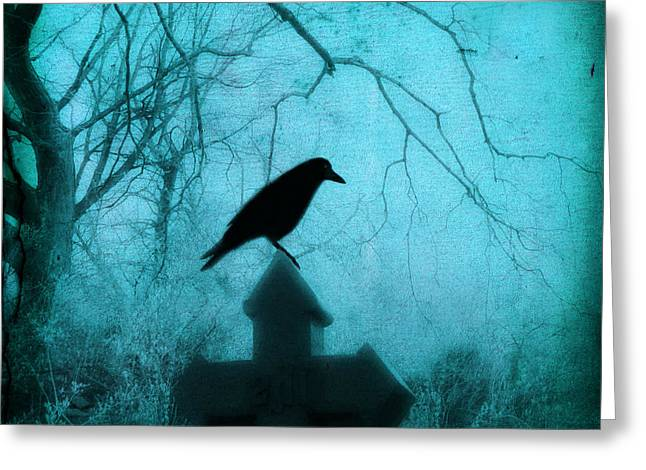 Ravens In Graveyard Greeting Cards - Misted Blue Greeting Card by Gothicolors Donna Snyder