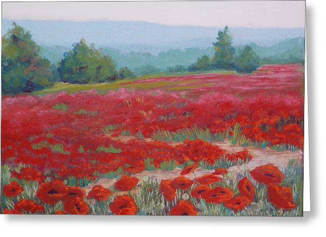 Oregon Pastels Greeting Cards - Misted Poppies Greeting Card by Rosemarie Caffarelli