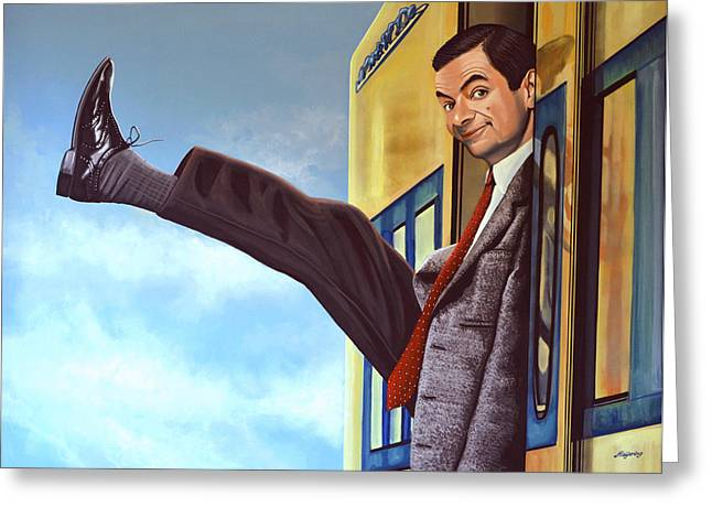 The Bean Paintings Greeting Cards - Mister Bean Greeting Card by Paul  Meijering