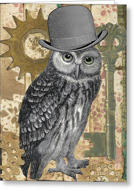 Cog Mixed Media Greeting Cards - Mister Brass Feathers Greeting Card by Raven Erebus