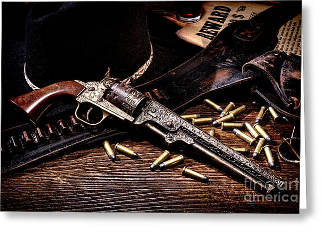 Holster Greeting Cards - Mister Durants Revolver Greeting Card by Olivier Le Queinec
