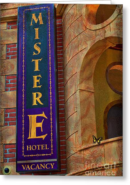 Liane Wright Greeting Cards - MISTER E HOTEL - Vacancy Sign Greeting Card by Liane Wright