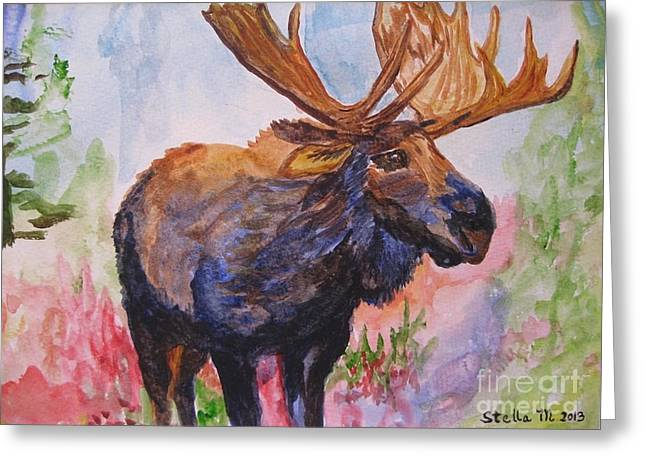Stella Sherman Greeting Cards - Mister Moose Greeting Card by Stella Sherman