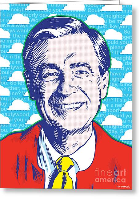 Believe Greeting Cards - Mister Rogers Pop Art Greeting Card by Jim Zahniser
