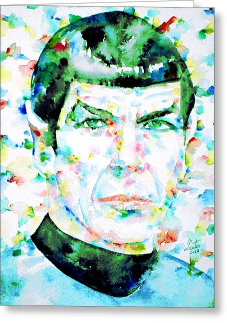 Nimoy Greeting Cards - MISTER SPOCK  watercolor portrait Greeting Card by Fabrizio Cassetta
